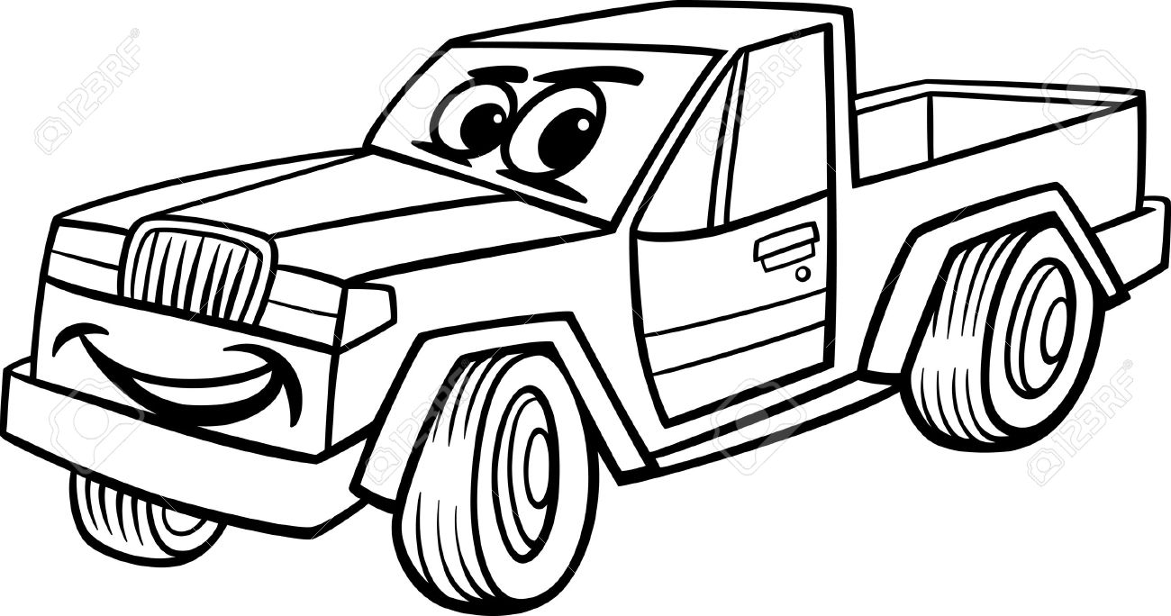 1300x684 Black And White Cartoon Illustration Of Funny Pick Up Or Pickup