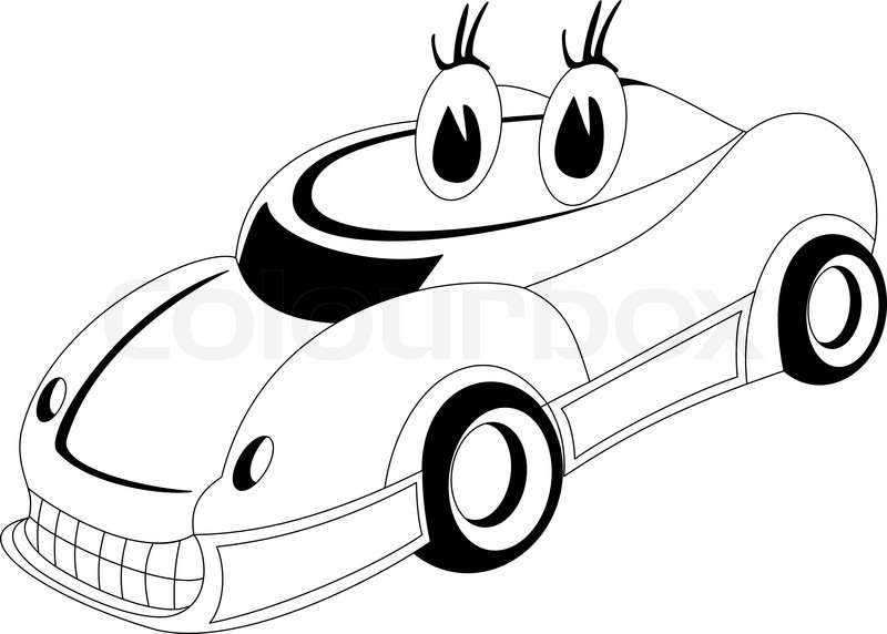 800x572 Black And White Illustration Of A Cartoon Car Stock Vector