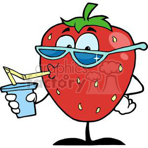 300x300 Royalty Free cartoon strawberry character drinking a soda 380328