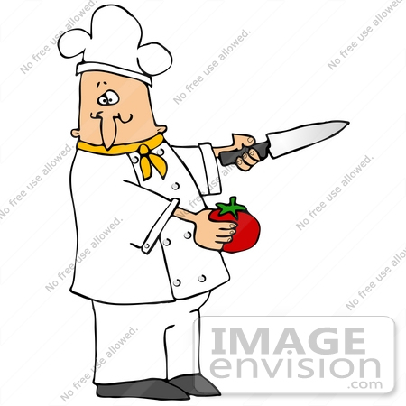 450x450 Clip Art Graphic Of A Caucasian Male Chef Wearing A Chef's Hat