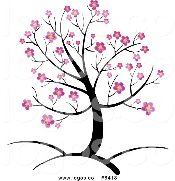 Cherry Blossom Tree Black And White: Cartoon Cherry Blossom Tree Clipart