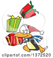175x190 Clipart Of A Cartoon Christmas Penguin Doing A Happy Dance