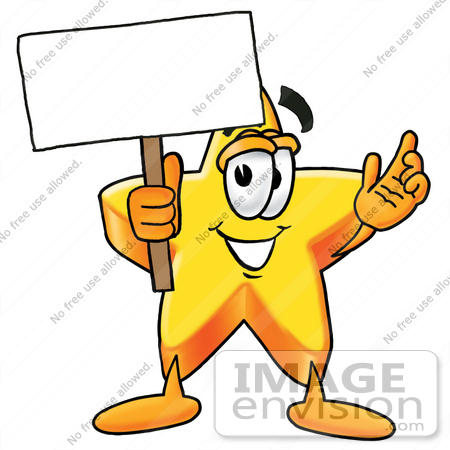 450x450 Clip Art Graphic of a Yellow Star Cartoon Character Holding a
