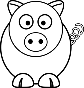 285x300 Cartoon Pig Black And White Clip Art