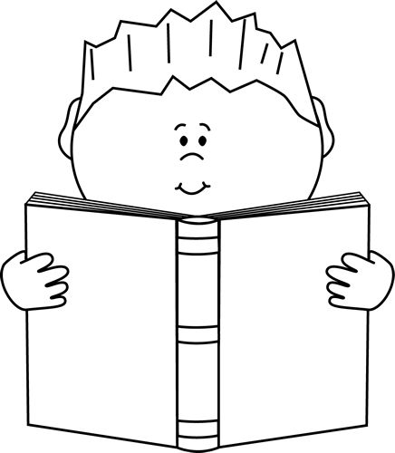 436x500 Reading a Book Clip Art Image