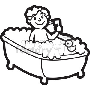 300x300 Royalty Free boy taking a bath cartoon in black and white 397927
