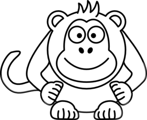300x246 Black And White Cartoon Monkey Clip Art