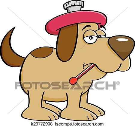 450x426 Clip Art Of Cartoon Sick Dog With A Thermometer K29772908