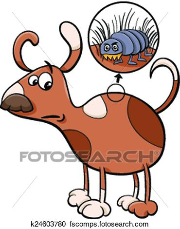 370x470 Clipart Of Dog And Flea Cartoon Illustration K24603780