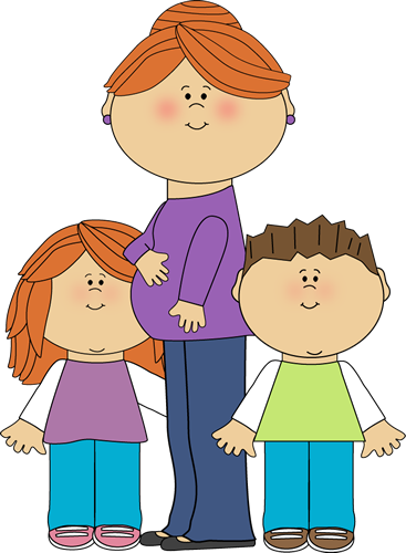 367x500 Pregnant Mom With Kids Clip Art Image
