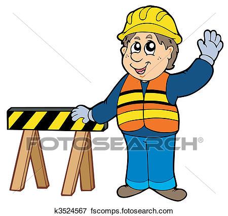 450x425 Clip Art Of Cartoon Construction Worker K3524567