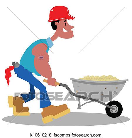 450x470 Clip Art Of Construction Worker Cartoon K10610218