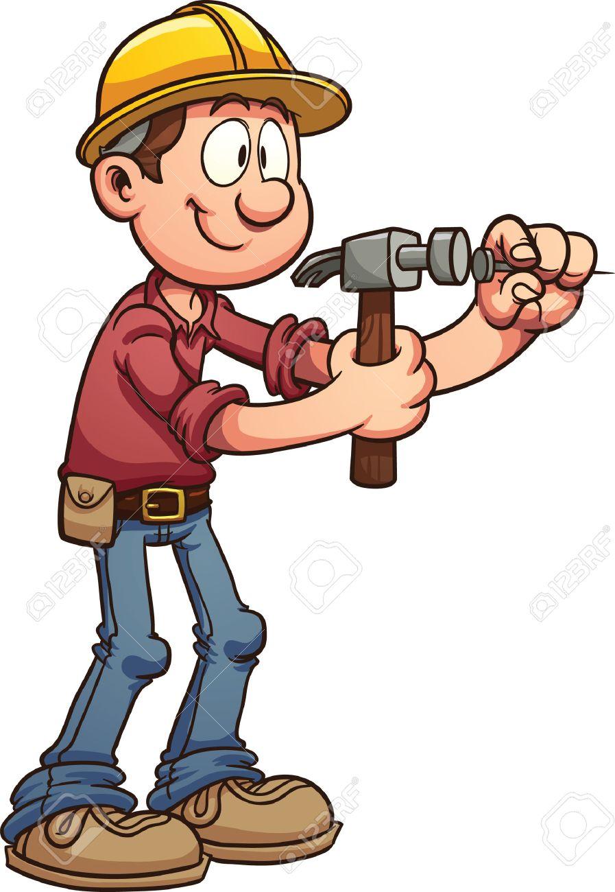 897x1300 Construction Worker Hammering A Nail Vector Clip Art Illustration