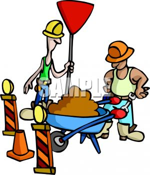 300x350 Construction Workers With A Wheelbarrow