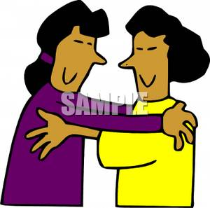 300x297 Free Clipart Image A Couple Of Smiling Women Hugging