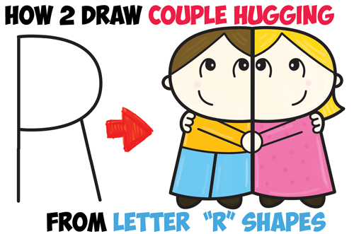 500x331 How To Draw Cartoon Couple (Girl And Boy) Hugging From Letter R