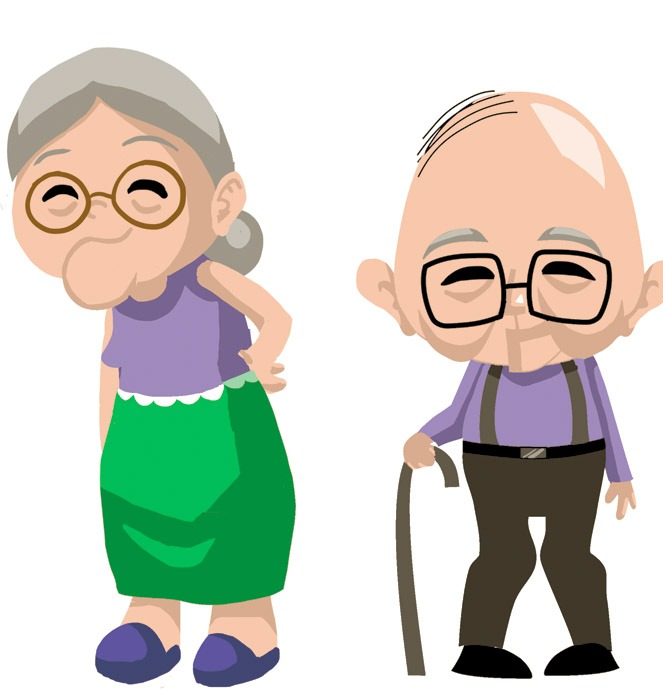 663x698 Old Couple Cartoon Clipart