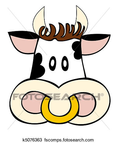 385x470 Clipart Of Dairy Cow Face. K5076363