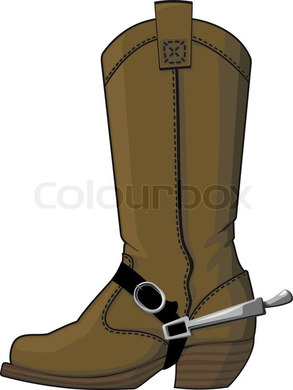 602x800 Cowboy boots with spurs Stock Vector Colourbox