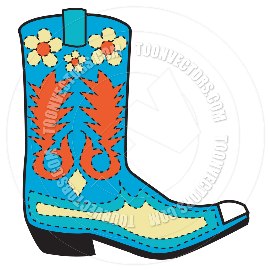 940x940 Cartoon Cowboy Boot Vector Illustration by Clip Art Guy Toon