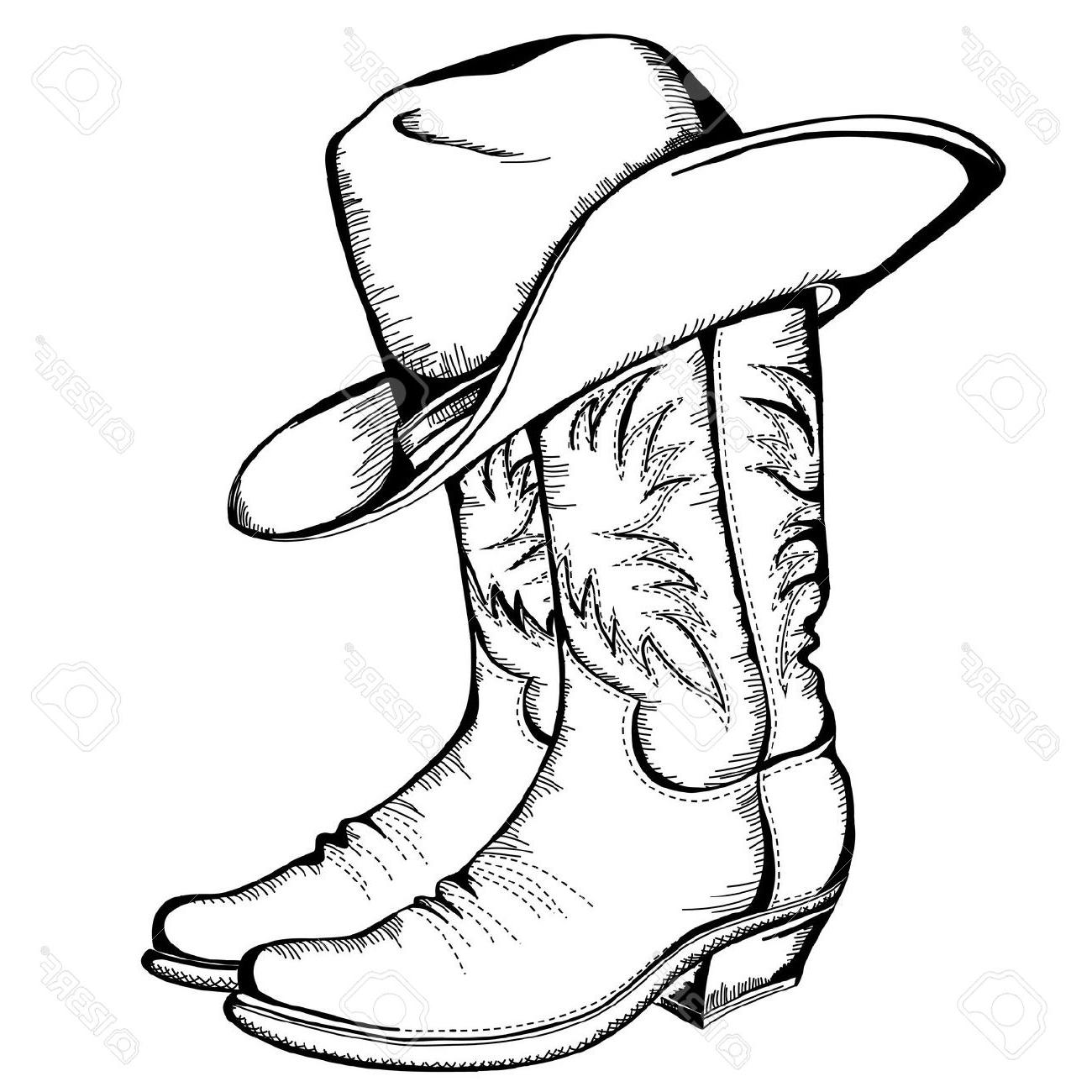 1300x1300 Hd Cowboy Boots And Hat Graphic Illustration Stock Vector Images