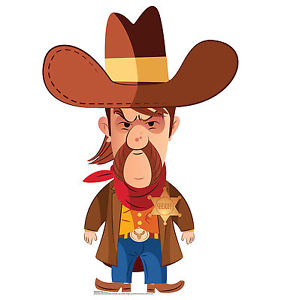 281x300 Cartoon Cowboy Sheriff Wild West Western Party Standup Standee