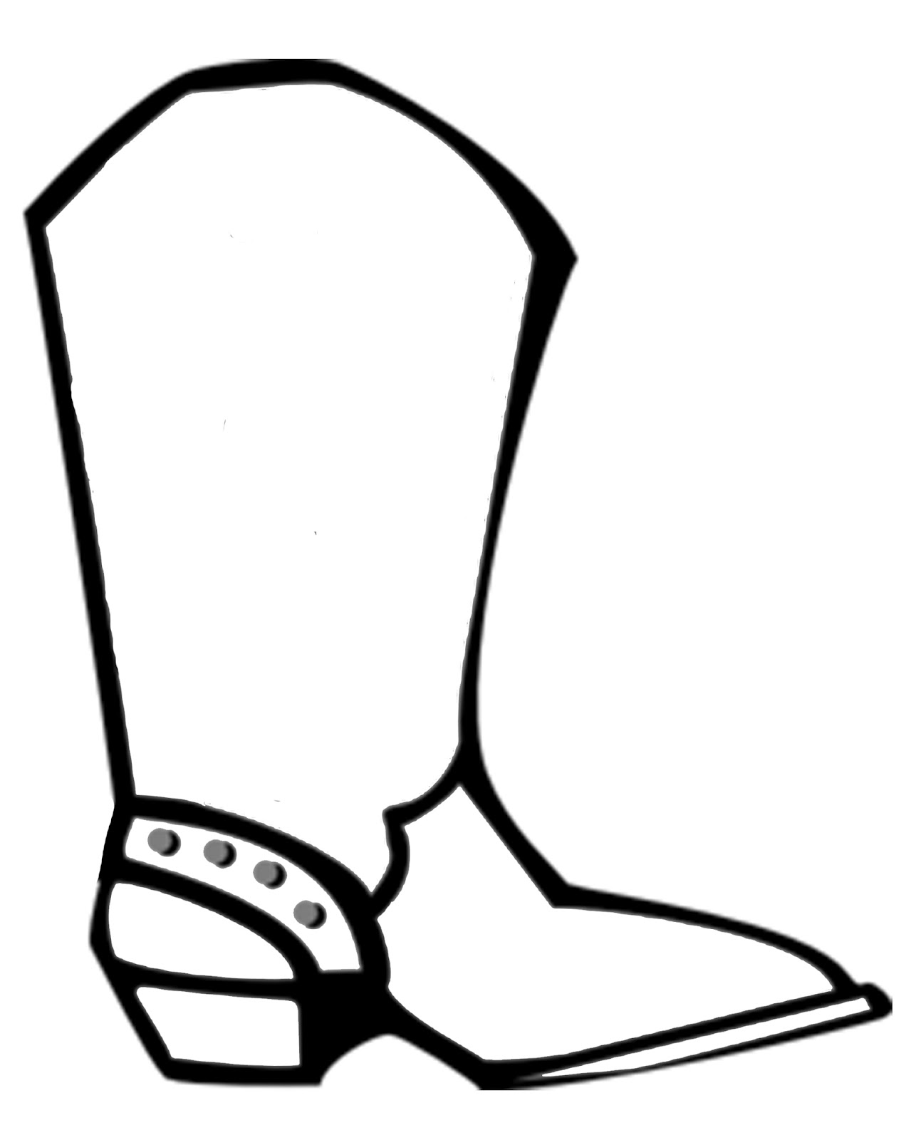 1265x1600 Cowboy Boot Coloring Page
