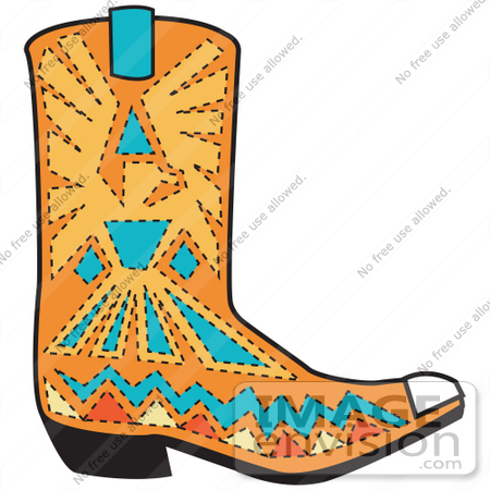 450x450 Royalty Free Cartoon Clip Art Of An Orange Aztec Style Cowboy Boot