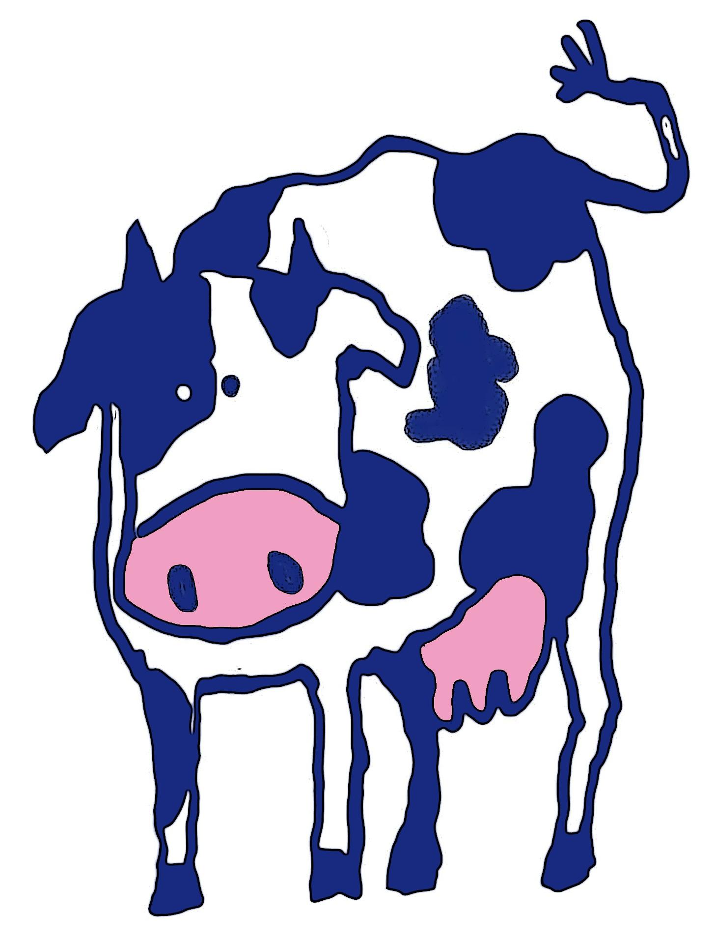 1456x1920 Free Images Cow, Pasture, Blue, Beef, Artwork, Graze, Cows, Font