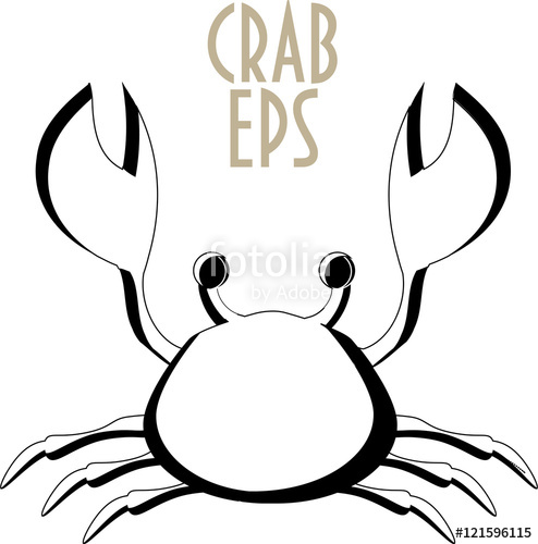 494x500 Crab Icon. Crab Silhouette. Cartoon Styled Silhouette Of A Crab