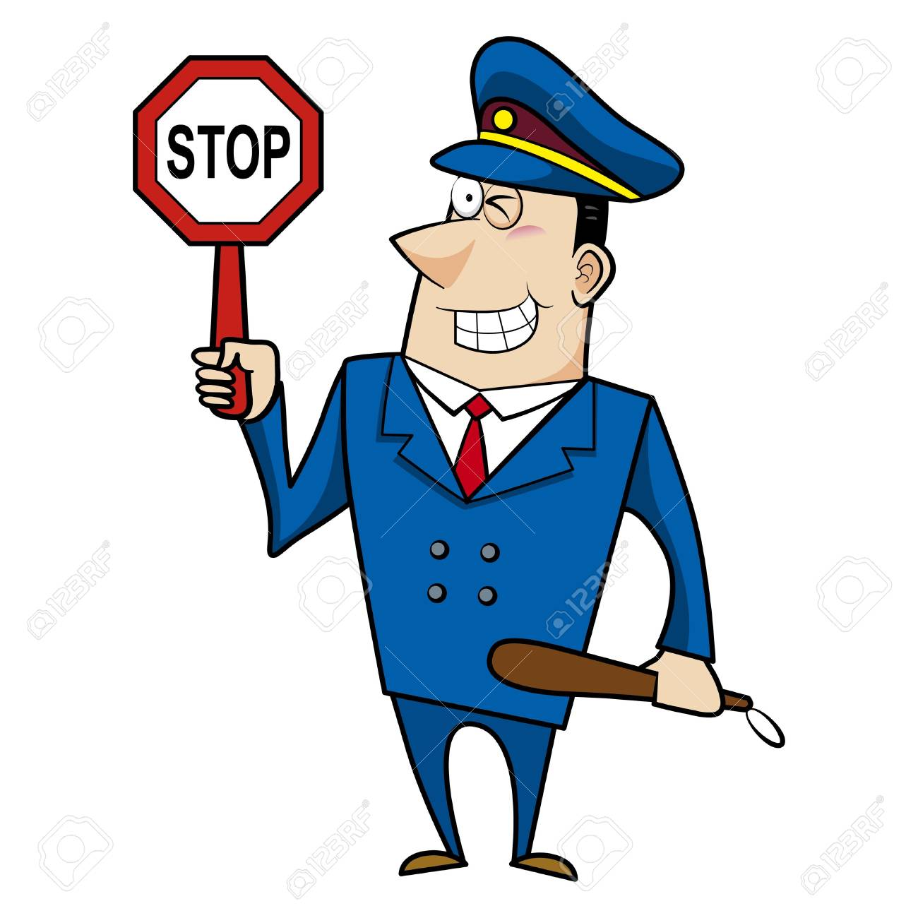 1300x1300 Male Cartoon Police Officer Holding A Stop Sign Royalty Free