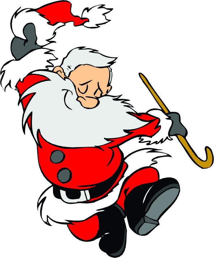 743x895 Dancing Santa Cartoon Clipart