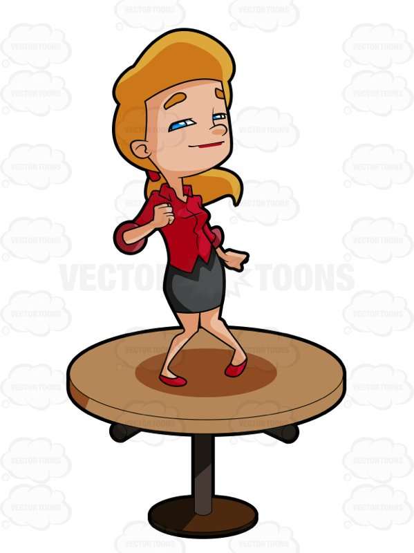 599x800 Blonde Woman Dancing On A Table Cartoon Clipart