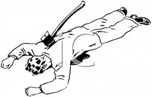 300x191 Man With An Axe In His Back Clip Art Image