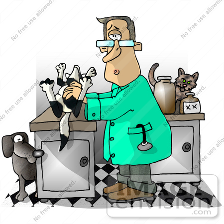450x450 Shocked Veterinarian Man In An Exam Room With A Dead Dog Clipart