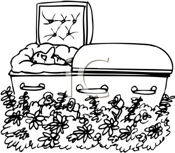 350x306 Black And White Cartoon Of A Dead Man In His Coffin