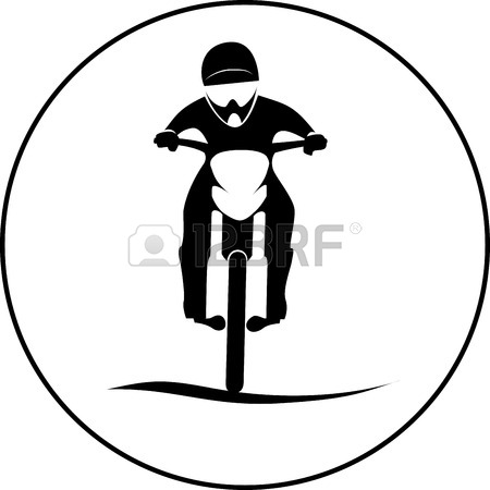 450x450 Dirt Bike Motorcycle Rider Sign In Round Illustration Royalty Free