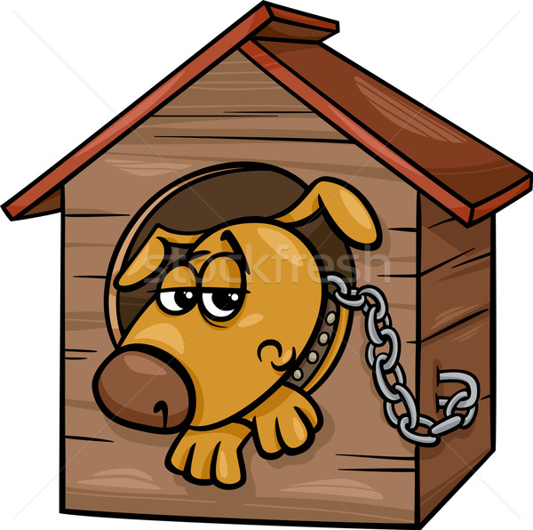 600x596 Sad Dog In Kennel Cartoon Illustration Vector Illustration Igor