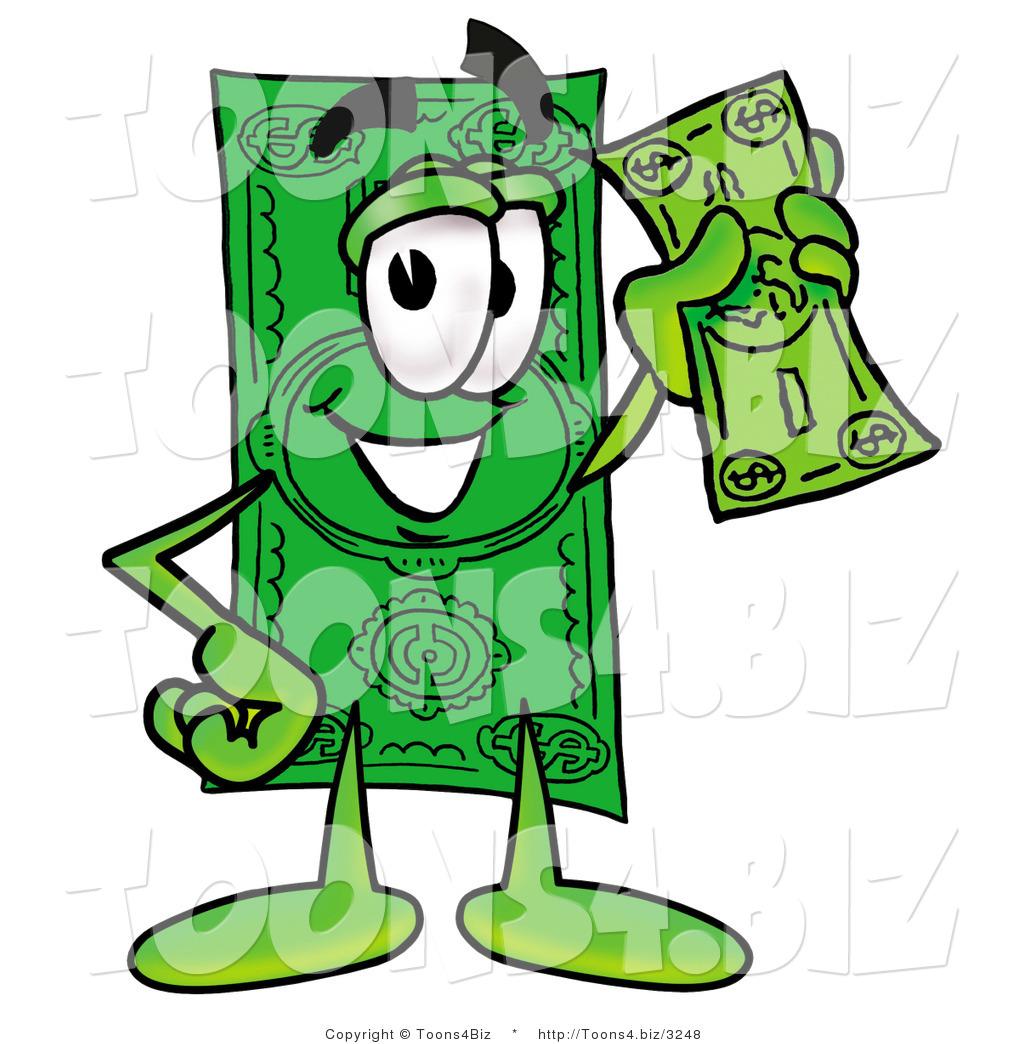 1024x1044 Illustration Of A Cartoon Dollar Bill Mascot Holding A Dollar Bill