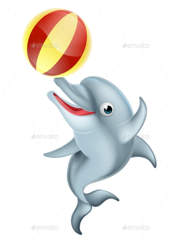 590x798 Cartoon Dolphin Playing With Ball By Krisdog Graphicriver