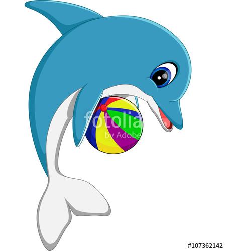 450x500 Illustration Of Cute Dolphin Cartoon Stock Image And Royalty