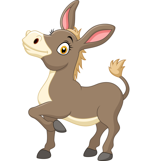 600x643 Little Donkey Cartoon Vector