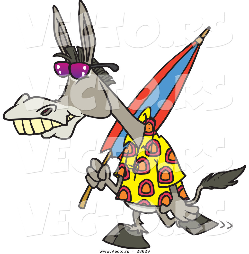 1024x1044 Vector Of A Cartoon Donkey Carrying An Umbrella While Walking