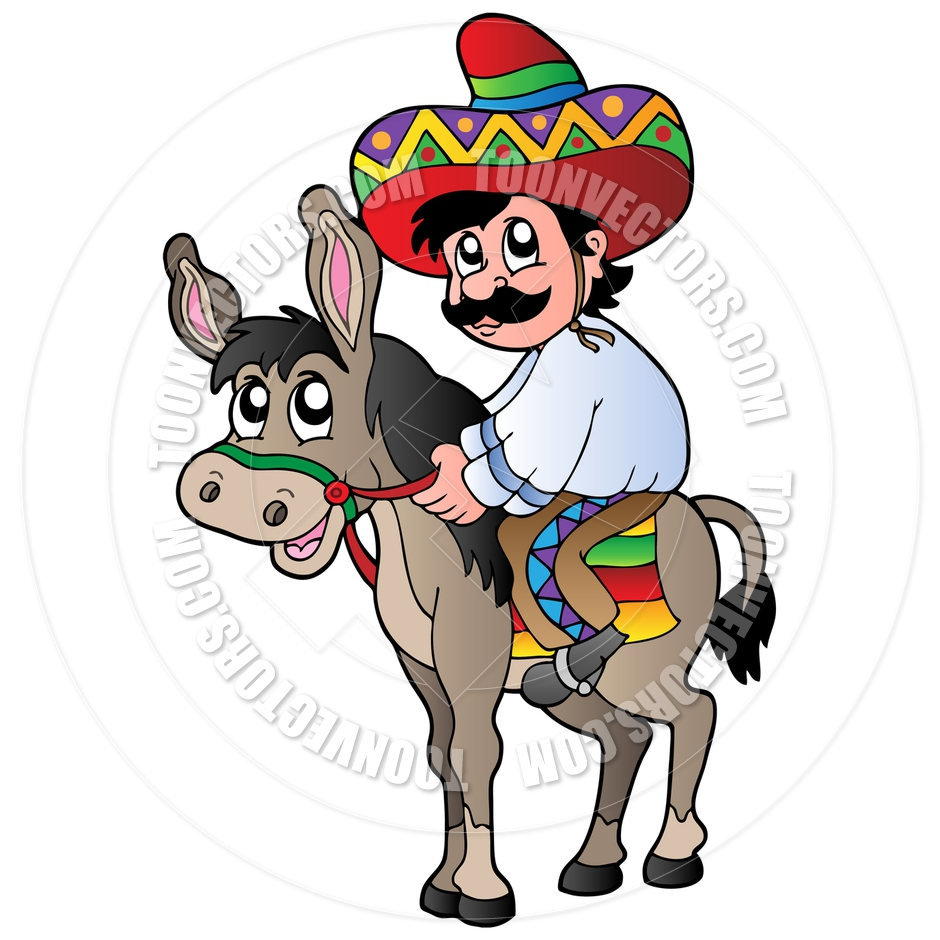 940x940 Cartoon Mexican Man Riding Donkey By Clairev Toon Vectors Eps