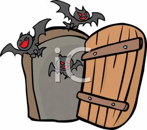 300x264 Cartoon Of Bats Flying Through An Open Door