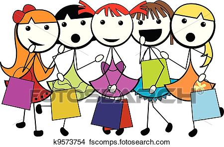 450x296 Clipart Of Cartoon Stick Shopping Girls K9573754