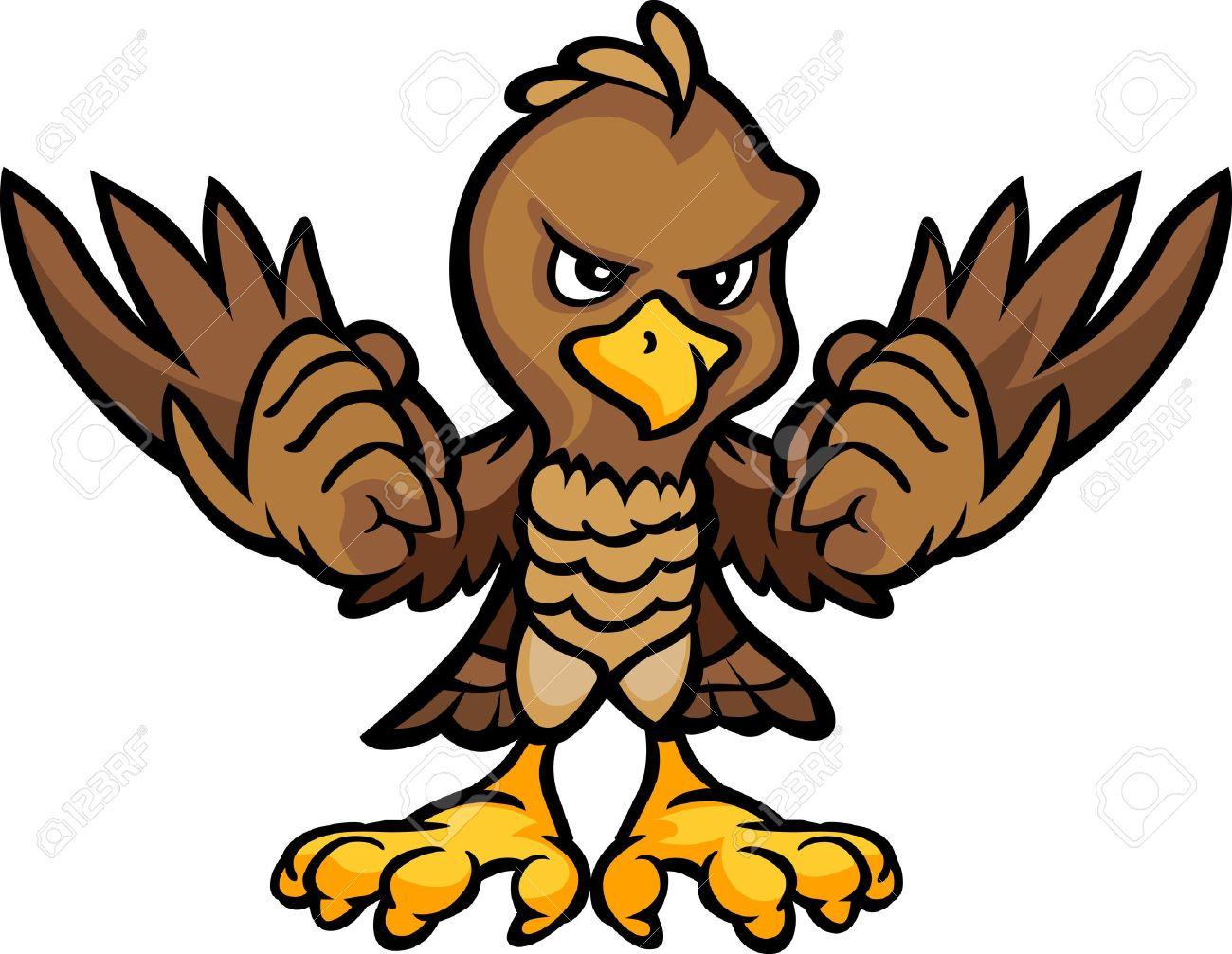 1300x1007 Cartoon Vector Image Of An Eagle Or Falcon Body Royalty Free