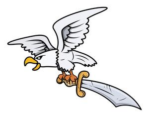 300x235 Eagle Holding Pirate Flag