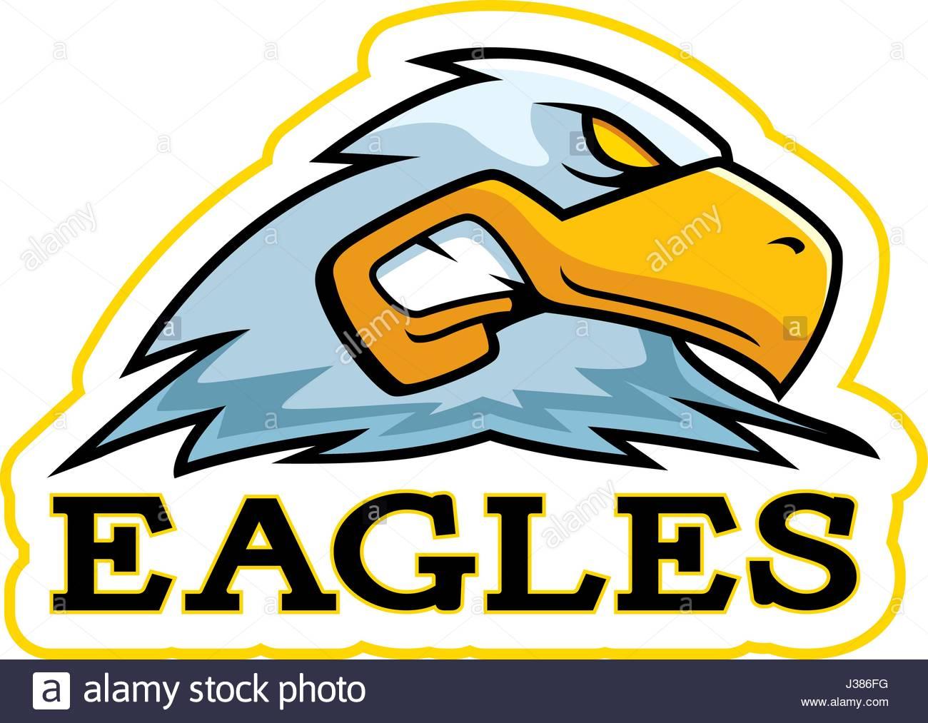 1300x1013 A Cartoon Illustration Of An Eagle Mascot Head Stock Vector Art