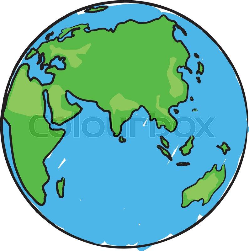 794x800 Cartoon Earth Globe With Eurasia, Africa And Australia Stock